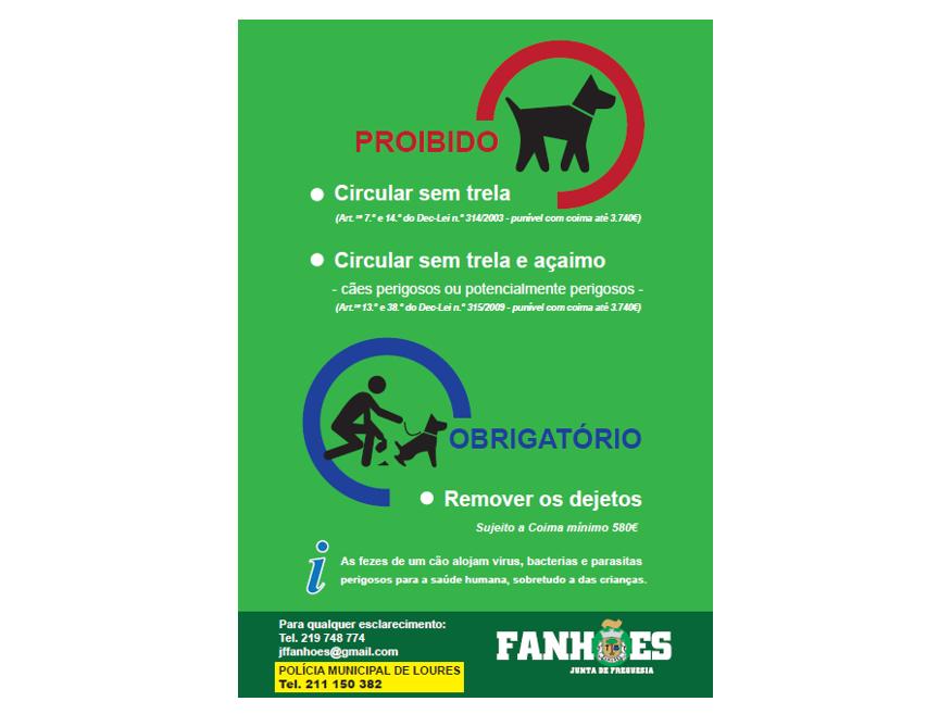 A Junta de Freguesia de Fanhões iniciou uma Campanha de sensibilização dos donos às boas práticas a ter com os seus animais nos espaços públicos.