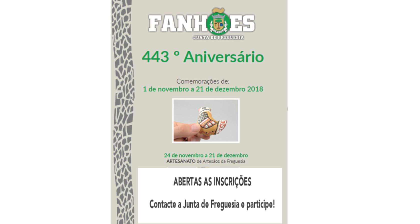 Abertas as Inscrições para a exposição de Artesanato no âmbito das comemorações do 443º Aniversário da Freguesia de Fanhões – Contacte a Junta de Freguesia e veja aqui o programa e participe!