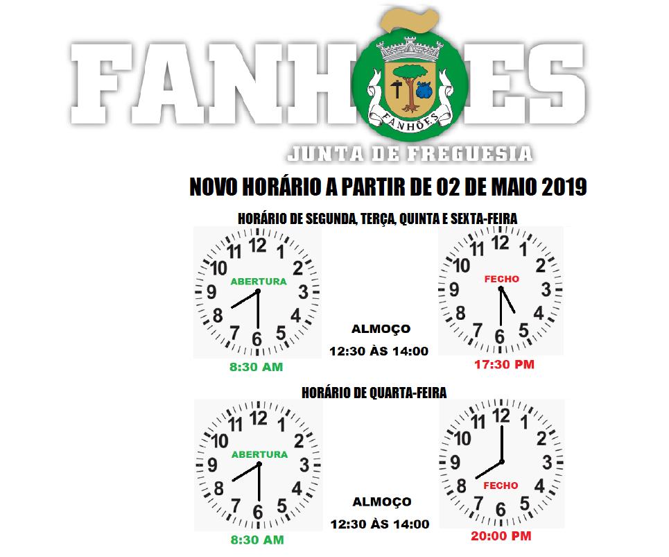 NOVO HORÁRIO DA JUNTA DE FREGUESIA DE FANHÕES A PARTIR DE 02 DE MAIO 2019 –