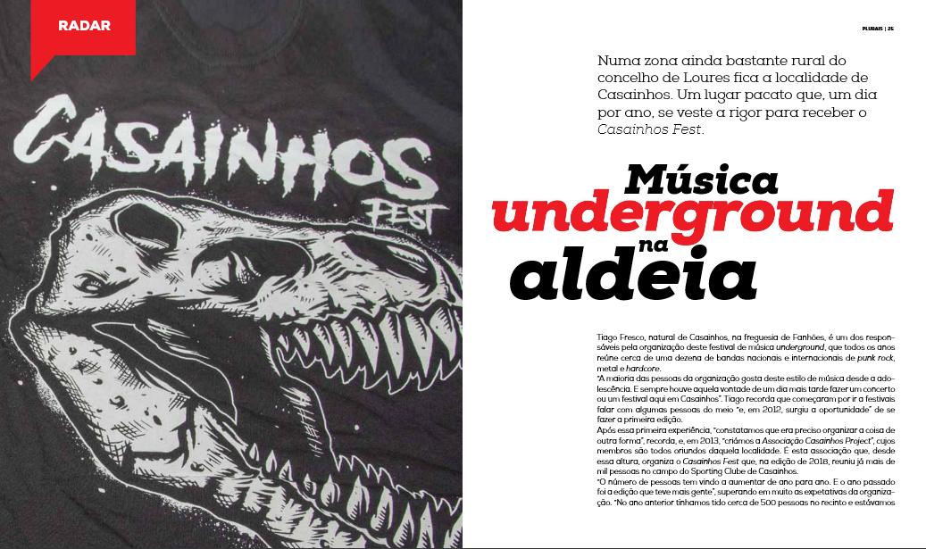 """CASAINHOS FEST – """"Música urderground na aldeia"""" Com destaque na Revista Plurais – Câmara Municipal de Loures!"""