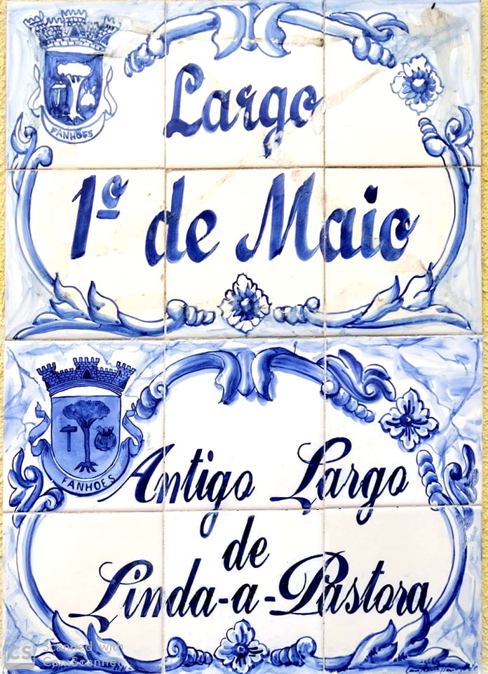 """FANHÕES -(f) Largo 1º de Maio colocada placa toponimica de """"Antigo Largo de Linda-a-Pastora"""" dignificando a história e a amizade entre as duas localidades."""