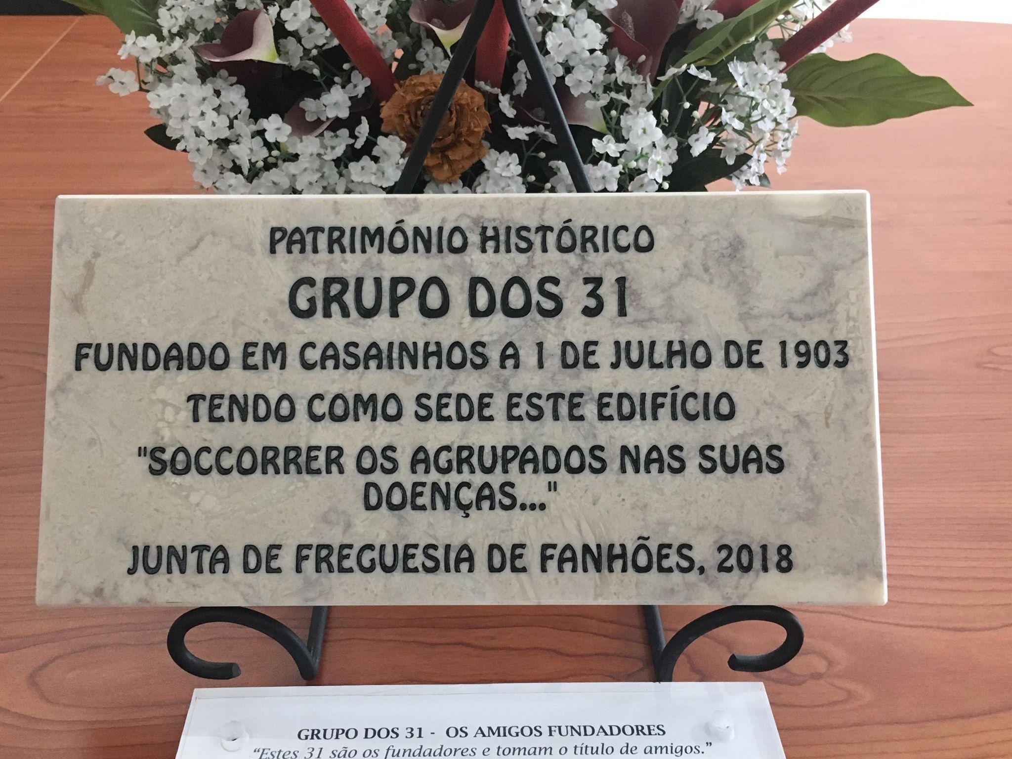 Homenagem do Município de Loures ao Grupo dos 31 Cazainhenses fundado em 1903