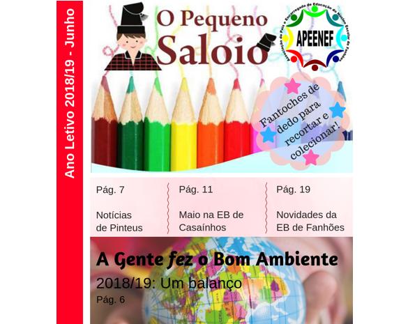 """Jornal """"O PEQUENO SALOIO""""- Disponível a Edição de junho de 2019 – Publicação da Associação de Pais e Encarregados de Educação do Núcleo Escolar de Fanhões."""