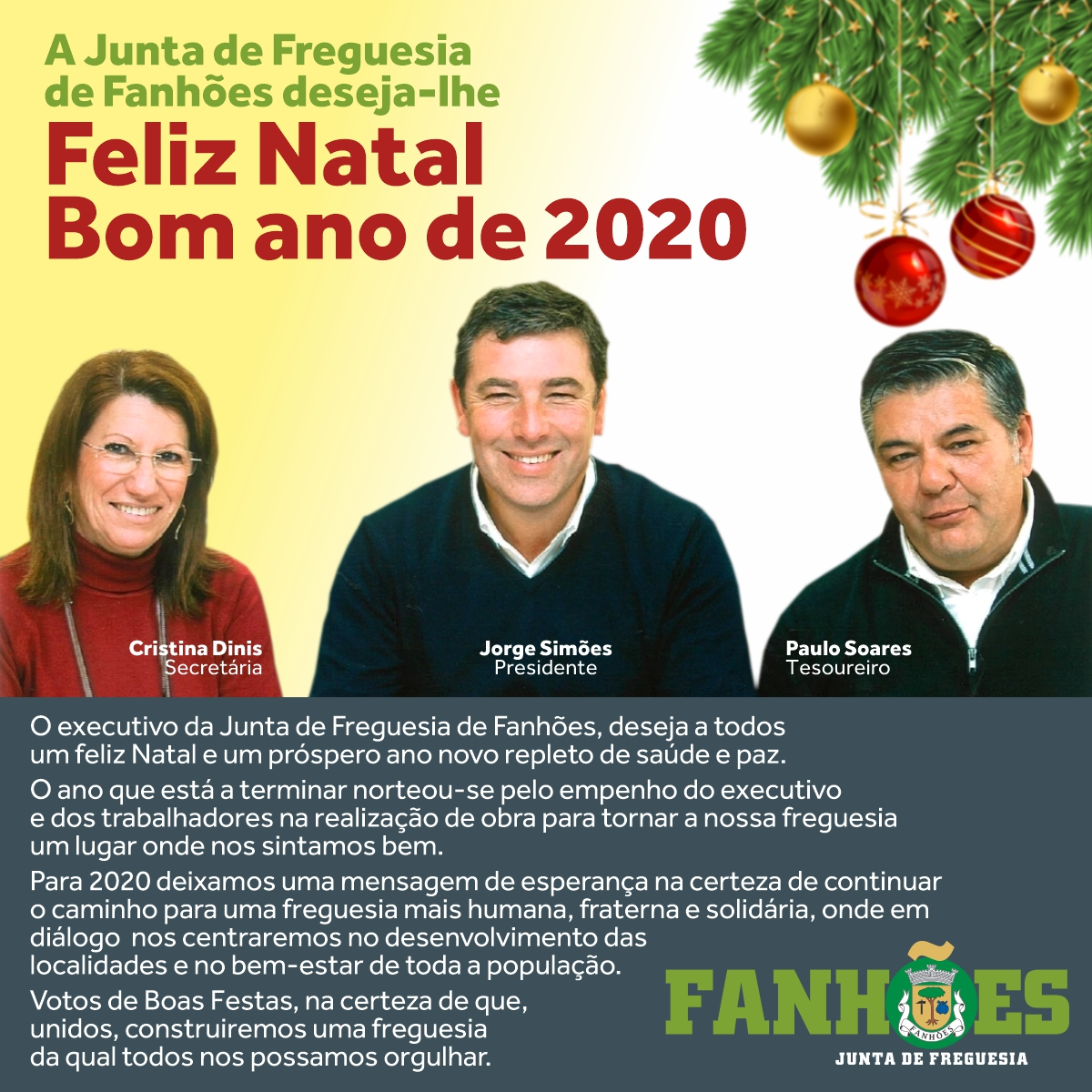 JUNTA DE FREGUESIA DE FANHÕES- MENSAGEM DE NATAL E ANO NOVO