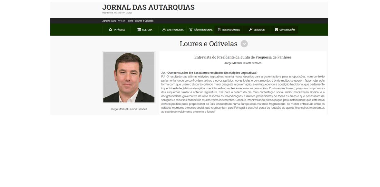 Entrevista do Presidente da Junta de Freguesia de Fanhões ao Jornal das Autarquias – Edição Loures – Odivelas