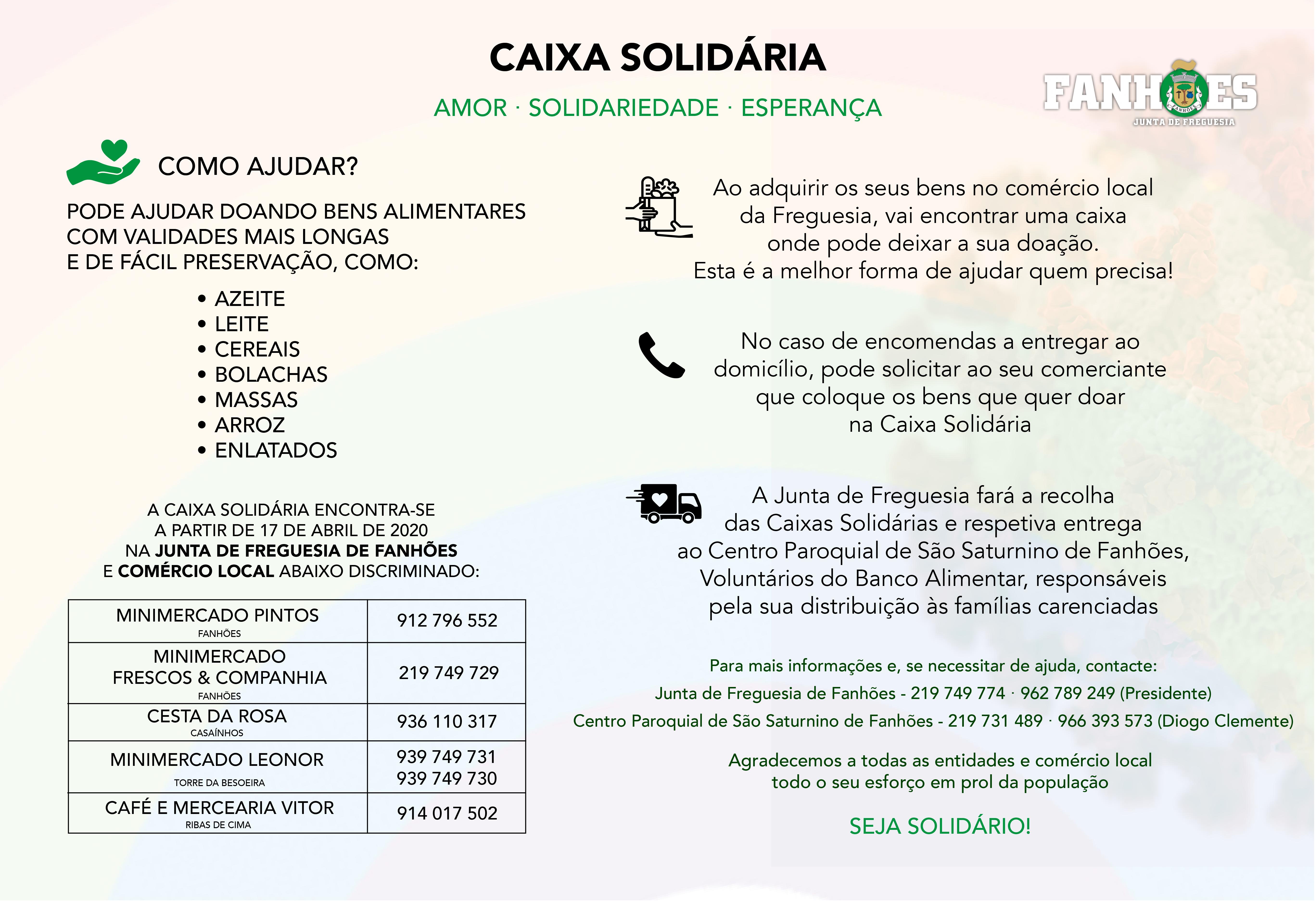 CAIXA SOLIDÁRIA – A sua ajuda é essencial e o momento é de Amor, Solidariedade e Esperança!