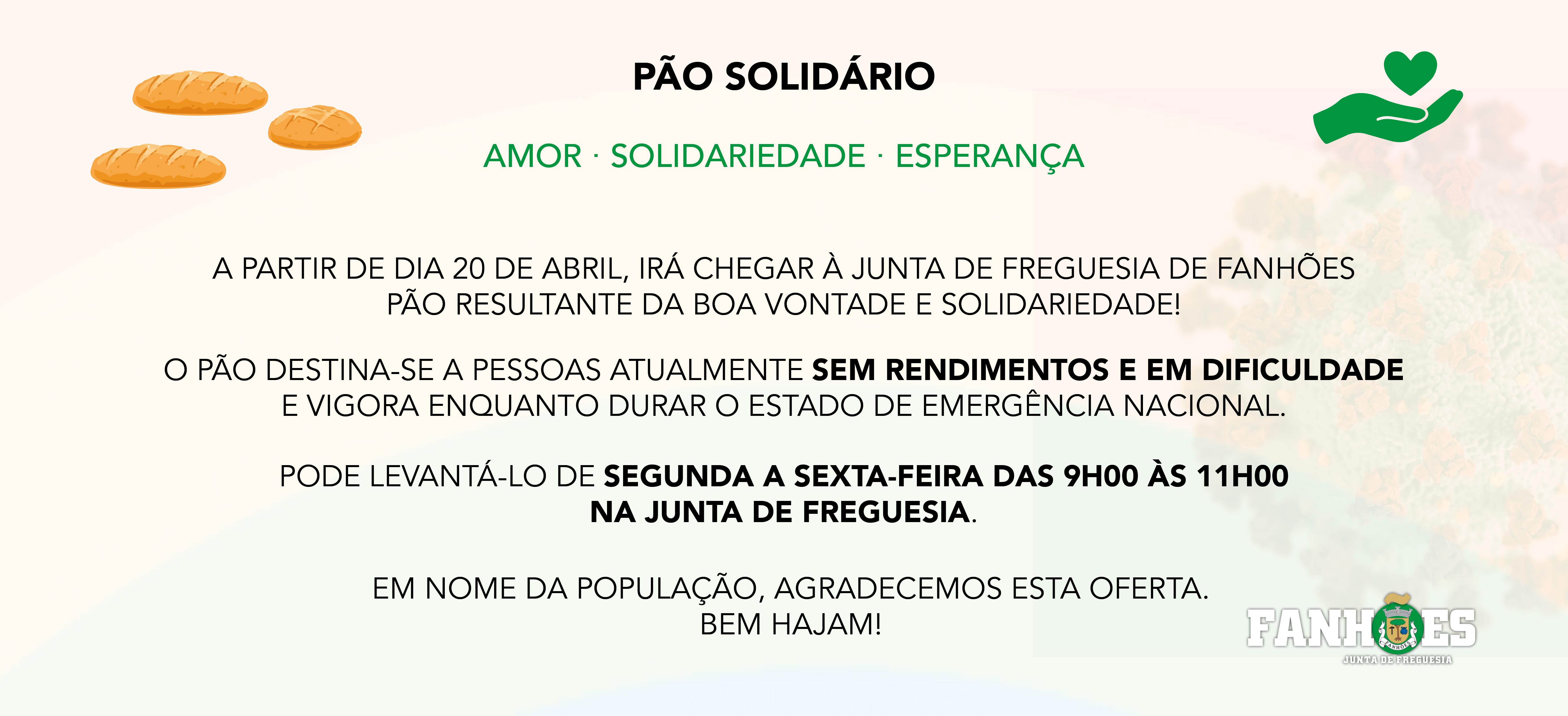 PÃO SOLIDÁRIO  – Graças à solidariedade de uma concidadã, irá chegar à Junta de Freguesia a partir de dia 20 de abril pão para ser levantado por quem necessita!