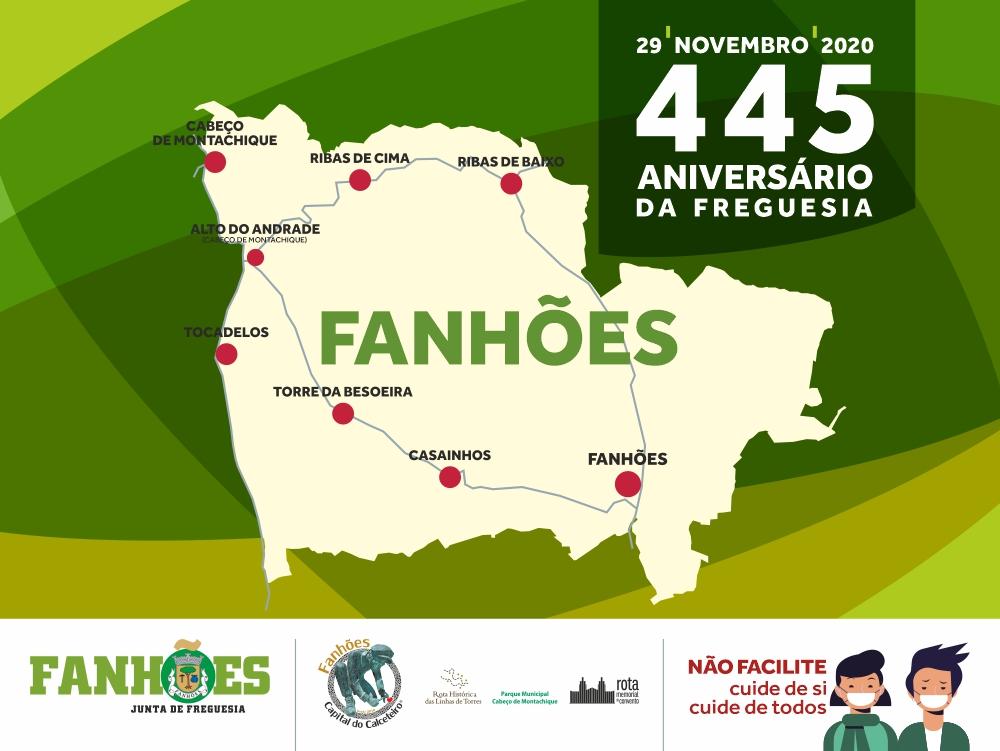 445º Aniversário da Freguesia de Fanhões – Este ano em contexto de pandemia que nos impede de realizar o programa de eventos que esta efeméride nos merece!